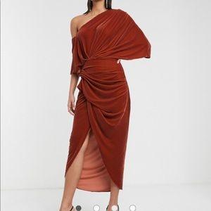 ASOS edition rust colored drape dress